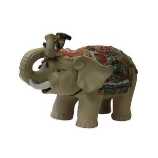 Asian Detail Handmade Ceramic Elephant Trunk Holding Ru Yi & Power Dragon Decor Back Rest Preview