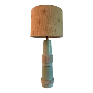 Tall Green Stoneware Marshall Studios Martz Lamp with Shade For Sale
