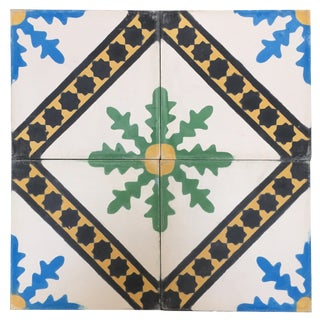 Moroccan Hand-Painted Cement Tile With Traditional Fez Design For Sale