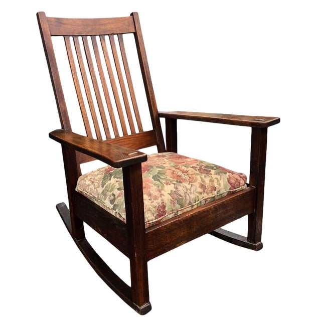 Magnificent 1900S Antique Stickley Quarter Sawn Oak Rocking Chair Onthecornerstone Fun Painted Chair Ideas Images Onthecornerstoneorg