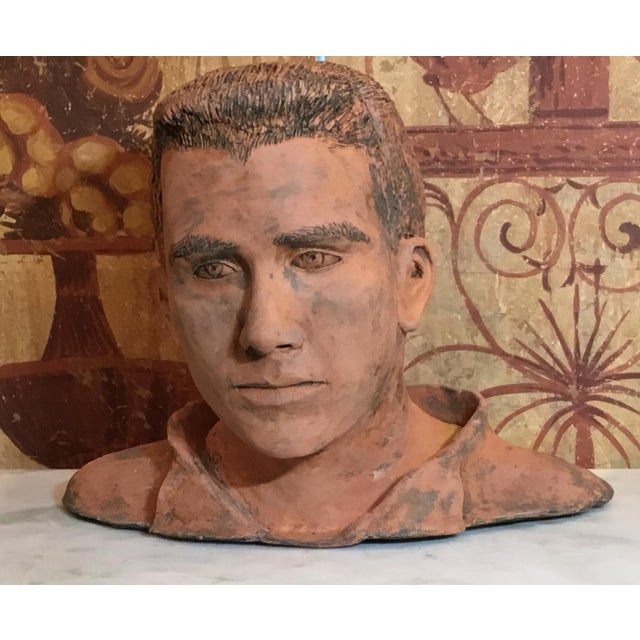 Young Man Terra Cotta Bust Signed MD For Sale - Image 4 of 13