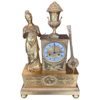 19th Century French Empire Dore Bronze Clock For Sale