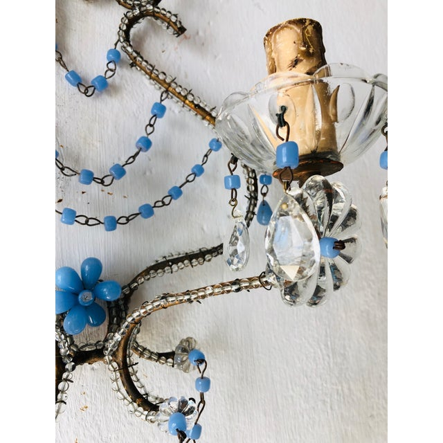 French Lavender Opaline Beads Beaded Sconces, circa 1920 For Sale - Image 9 of 10