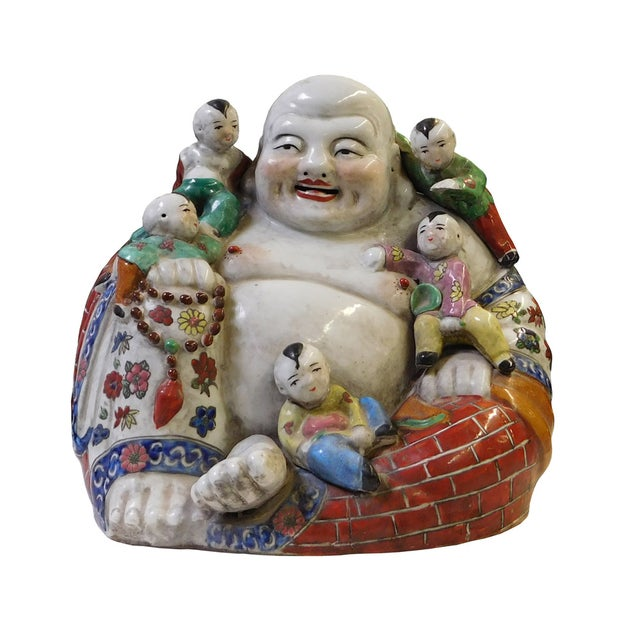 Chinese Porcelain Canton Happy Buddha Statue - Image 1 of 8