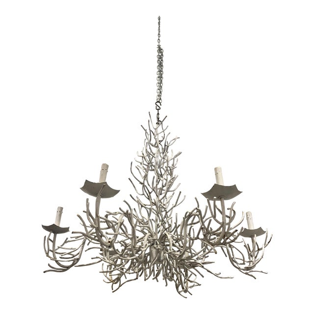 Large White Faux Coral Iron Chandelier For Sale