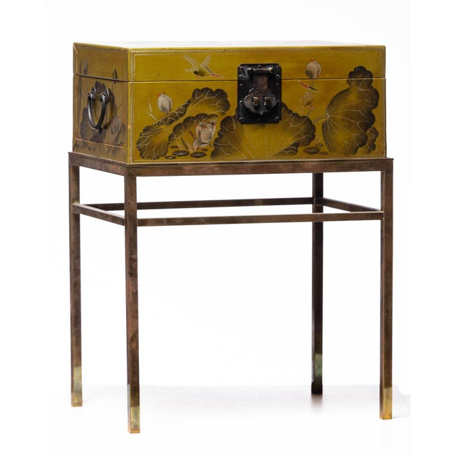 Hand-Painted Lotus Scene Chartreuse Leather Box on Patinated Brass Stand as Side Table by Lawrence & Scott For Sale - Image 13 of 13