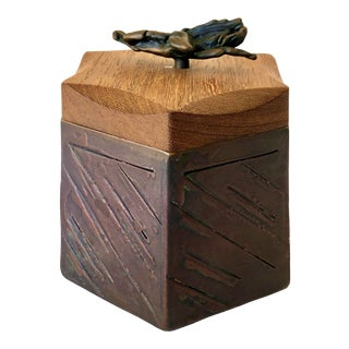1990s Chris and Pat Shatsby American Studio Crafts Textured Bronze & Wood Box For Sale
