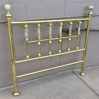 Traditional Solid Brass & Onyx Double Bed Headboard Preview
