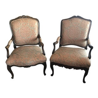Fortuny Upholstery Berge Chairs- A Pair For Sale