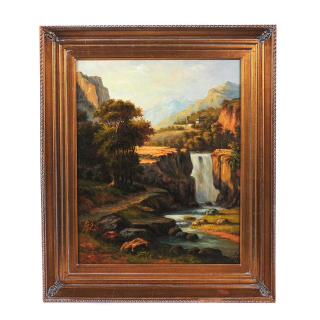 "19th C. Hudson River School ""Waterfall Landscape"" Oil Painting For Sale"