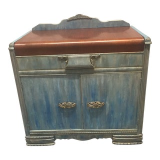 1930s Shabby Chic Distressed Blue Waterfall Sideboard