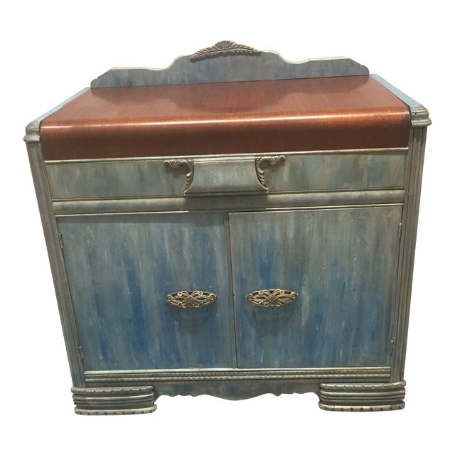 1930s Shabby Chic Distressed Blue Waterfall Sideboard For Sale