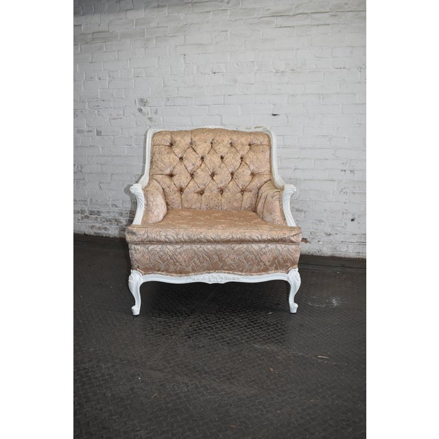 1950s Vintage French Blush Pink Brocade and White Armchair For Sale - Image 10 of 10