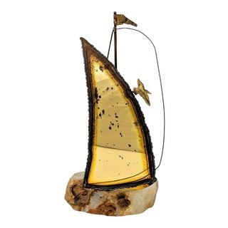 Brutalist DeMott Brass and Agate Sailboat Sculpture For Sale
