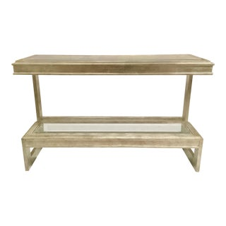 Drexel Heritage Silver Leaf Finished Wood and Glass Contemporary Elegance Console Table For Sale