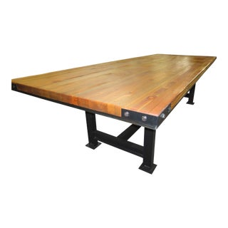 Rustic Industrial Butcher Block Style Dining/Conference Table For Sale