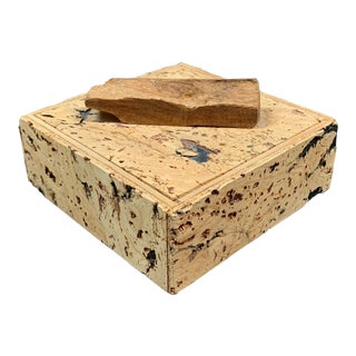Late 20th Century Natural Cork Covered Trinket Box For Sale