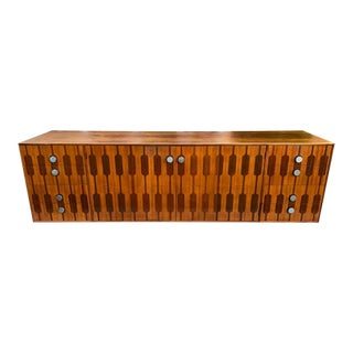 Mid 20th Century Rosewood Credenza W/Inlaid Bi-Fold Doors and Drawers For Sale
