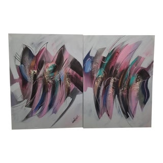1980s Vintage Abstract Colorful Mixed Media Paintings by Lee Reynolds- a Pair For Sale