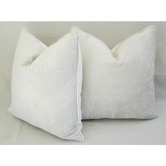 "Cotton Boho Chic Bone White Crocodile Velvet Feather/Down Pillows 24"" Square - Pair For Sale - Image 7 of 12"
