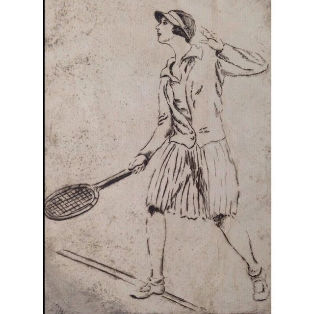 1930's Tennis Etchings Helen Moody Wills - A Pair - Image 4 of 6