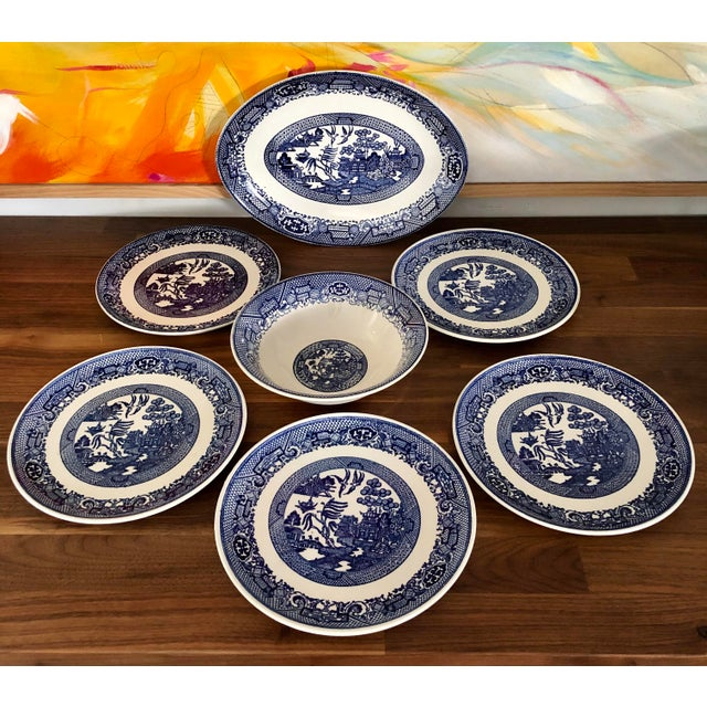 White Blue Willow Transfer Ware Serving Pieces and Plates- Set of 7 For Sale - Image 8 of 8