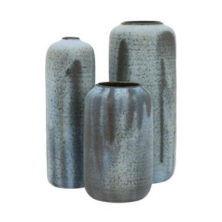 Set of Three Matte Blue Stoneware Vases by Laetitia DiGioia For Sale