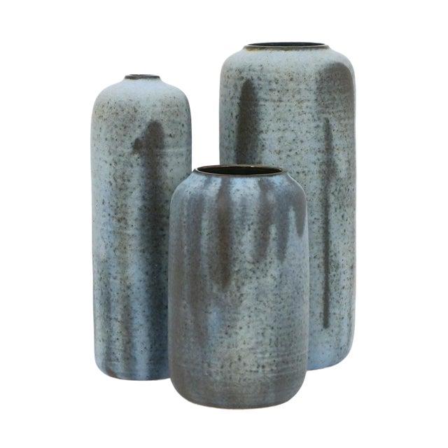 Set of Three Matte Blue Stoneware Vases by Laetitia DiGioia For Sale