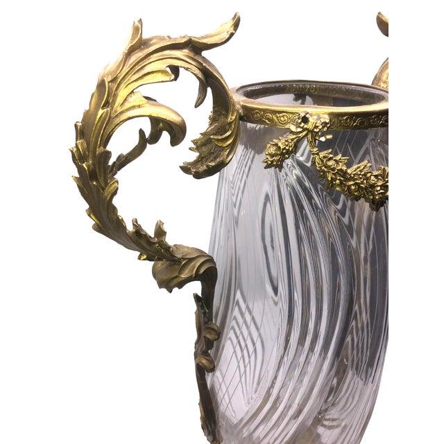 French Sculptured Bronze Crystal Vase For Sale - Image 4 of 9