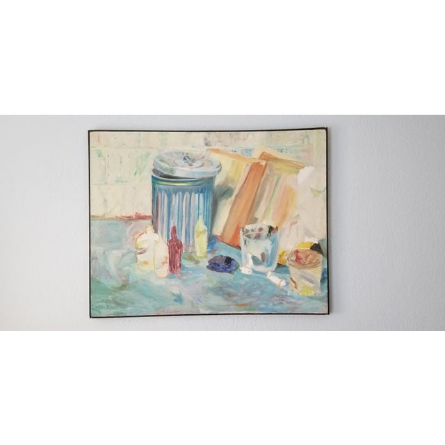 Blue 1970's John Purcell Abstract Still Life Oil on Canvas Painting, Framed For Sale - Image 8 of 12
