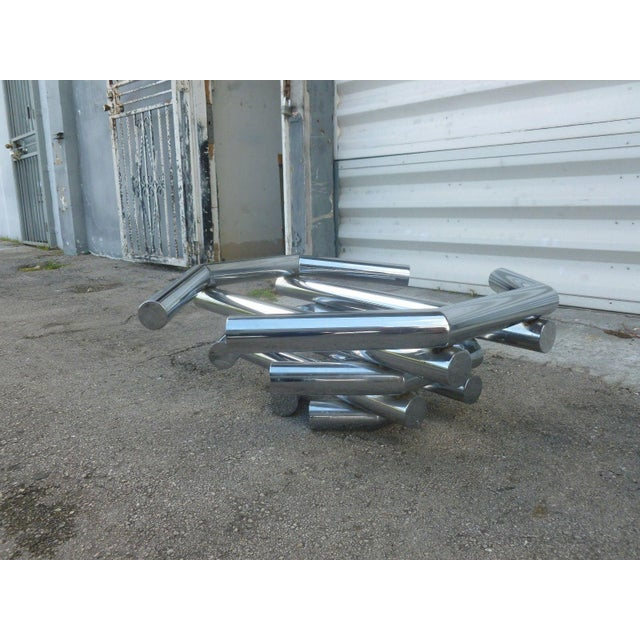 Incredible 70's Stacked Architectural Chrome Tubular Coffee Table Base For Sale - Image 4 of 9
