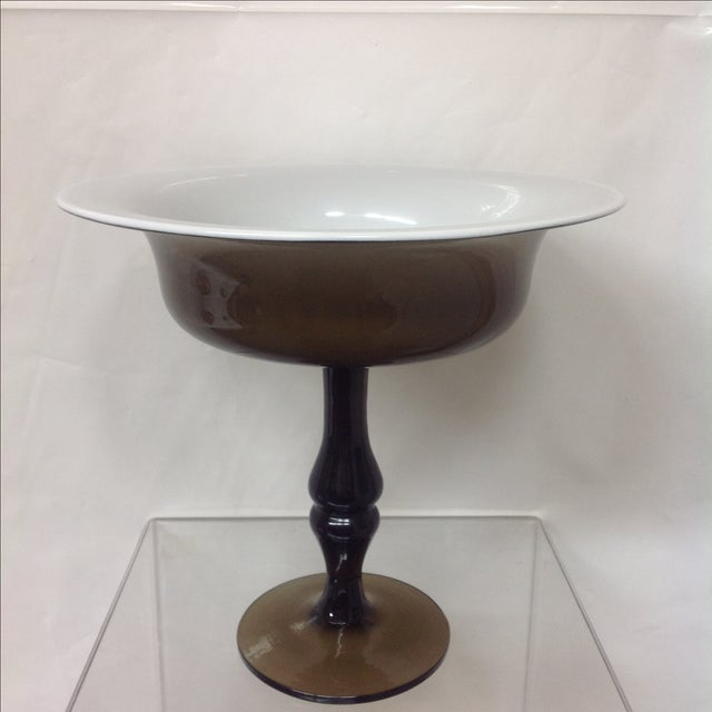 Holmgaard Olive Glass Tazza For Sale - Image 5 of 5