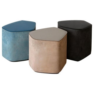Leather Stools by Nestor Perkal For Sale