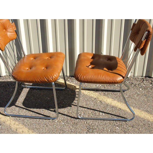 Daystrom Chrome And Vinyl Padded Chairs - Set of 5 - Image 5 of 8