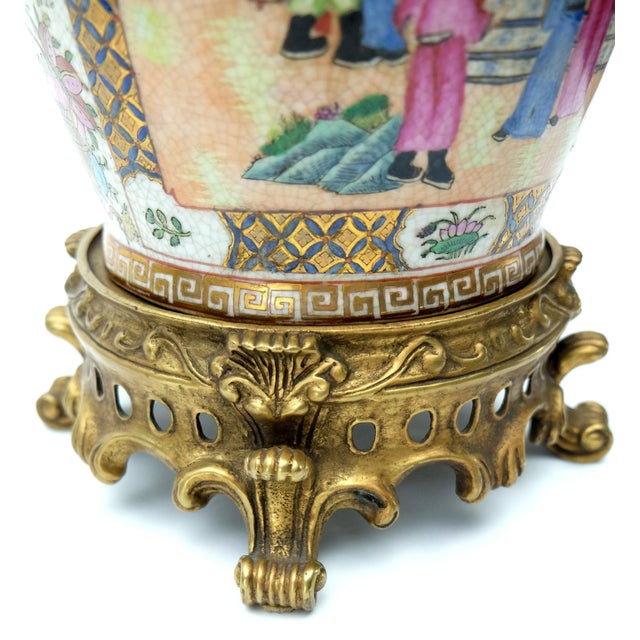 Metal Modern Set of Two Famille Rose Urns on Bronze Stands For Sale - Image 7 of 10