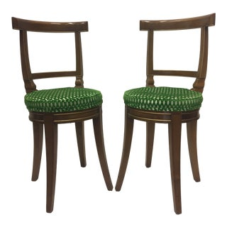 1980s Vintage Baker Fruitwood and Cut Velvet Side Chairs- A Pair For Sale