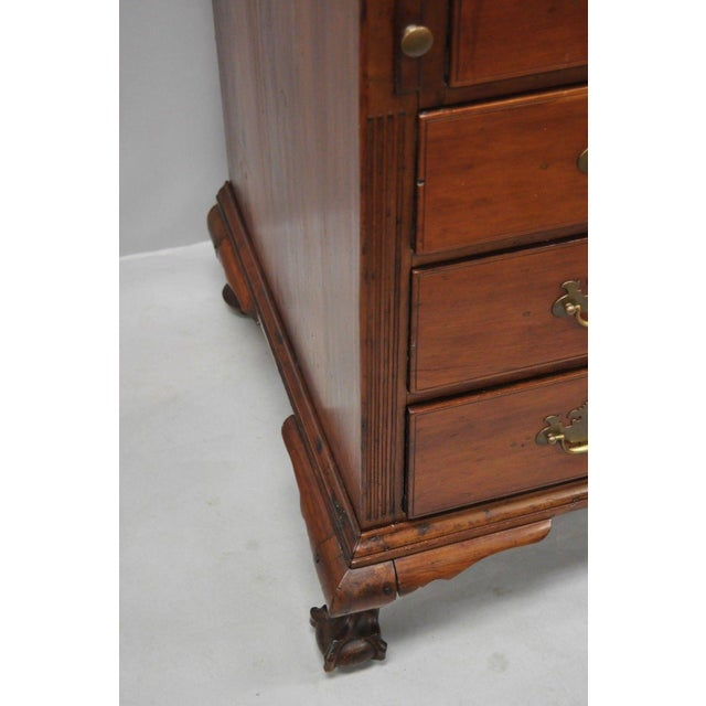 Brass 19th Century Chippendale Mahogany Slant Top Carved Ball & Claw Secretary Desk For Sale - Image 7 of 13