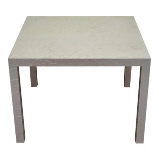 Vintage Mid Century Modern Silver Square Parsons Coffee Side Occasional Table