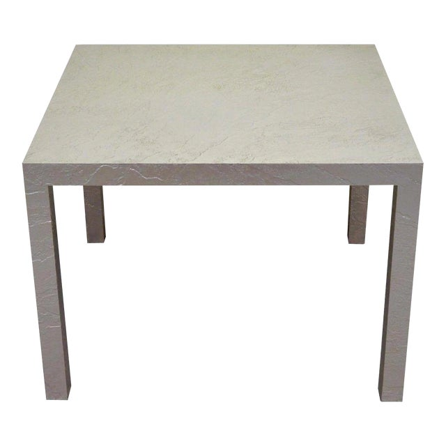 Vintage Mid Century Modern Silver Square Parsons Coffee Side Occasional Table For Sale