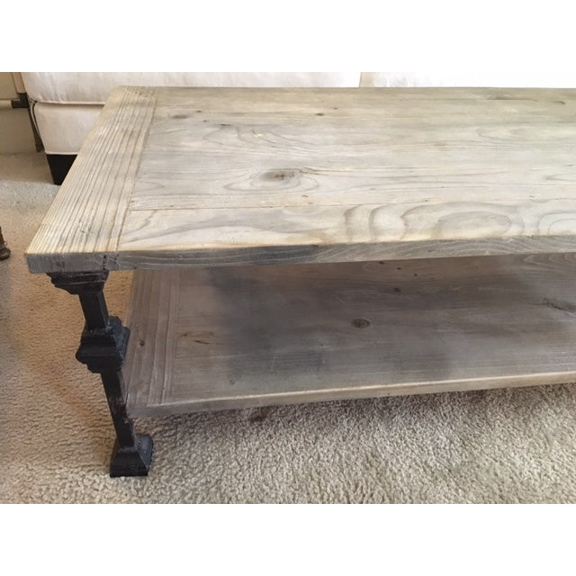 Restoration Hardware Rustic Gray Wash Wood & Iron Coffee Table For Sale - Image 4 of 5