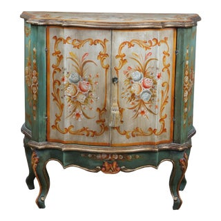 Vintage Serpentine Demilune Italian Florentine Side Cabinet or Entry Console Table For Sale