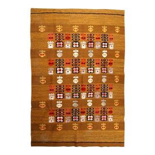 1950s handmade vintage Scandinavian flat-weave kilim 5.1' x 6.4' For Sale