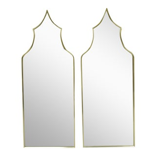 Vintage Italian Brass Frame Arched Pagoda Keyhole Shaped Wall Mirrors - a Pair For Sale