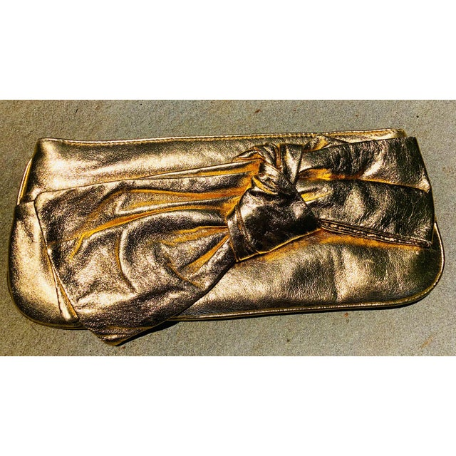 2010s Lorelei Metallic Leather Gold Bow Clutch For Sale - Image 5 of 5